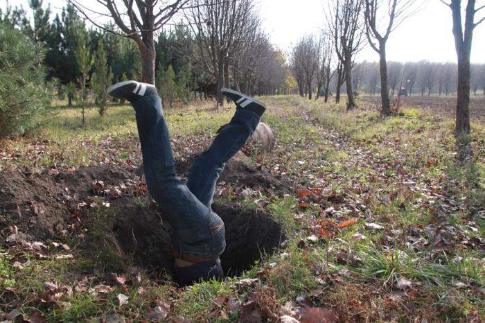 into a hole
